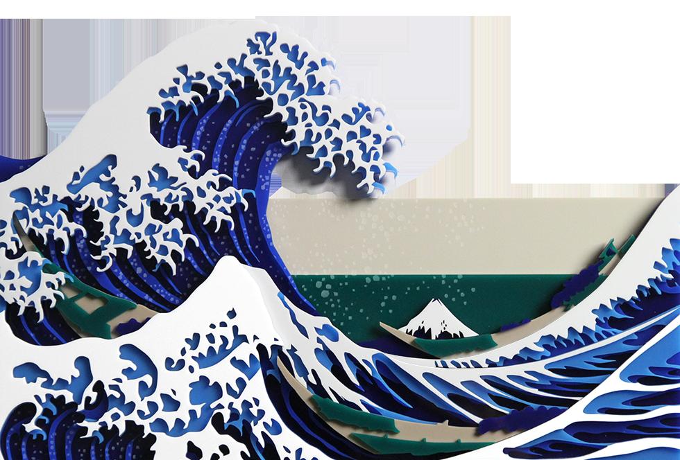アクリルレーザー加工・れーざー彫刻により制作した冨嶽三十六景